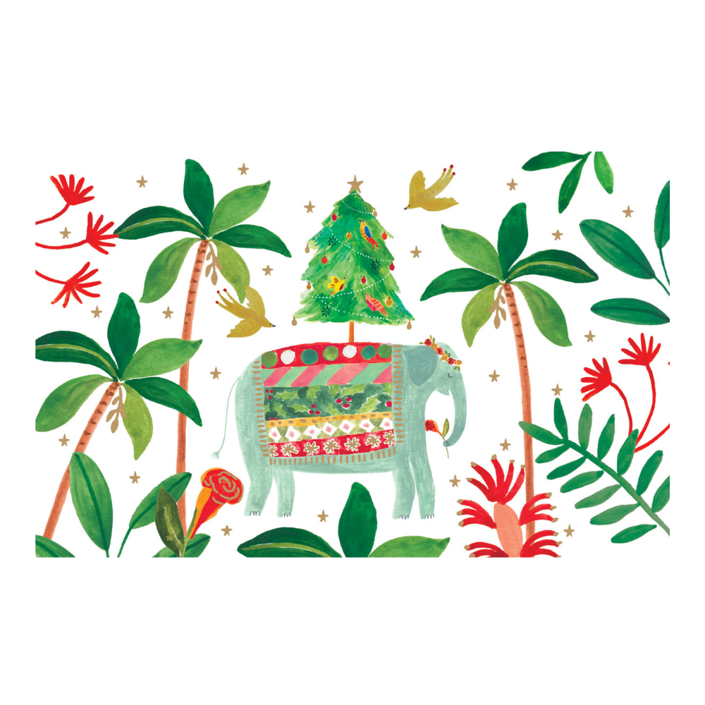 Elephant and Palm Trees Christmas Card 8 Pack