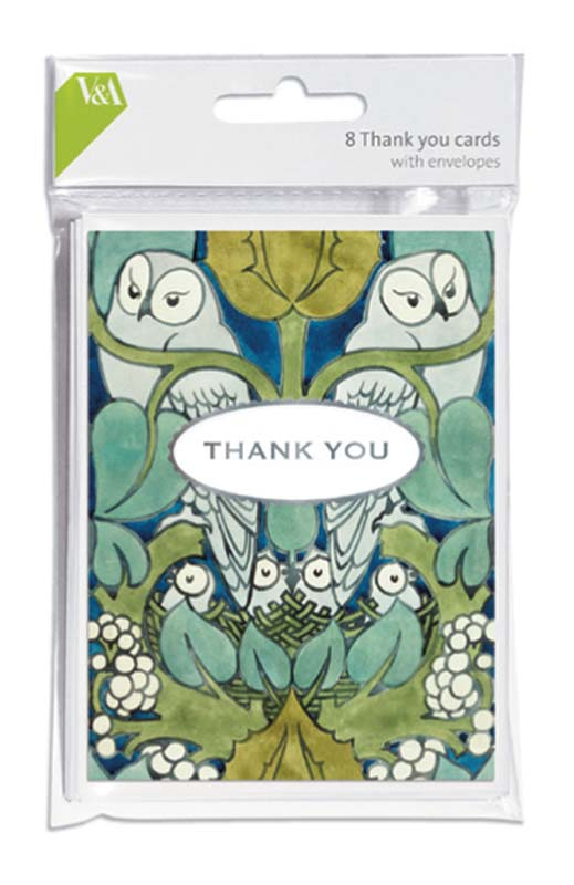 Owl Textile Thank You Cards