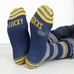 Lucky Socks - Navy and Grey Stripes