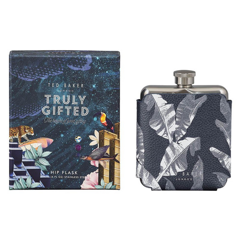 Ted Baker Leaf Print Single Hip Flask