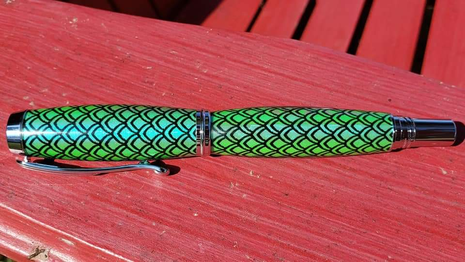 Junior Aaron Halo Pen Blank - Green Scales Only