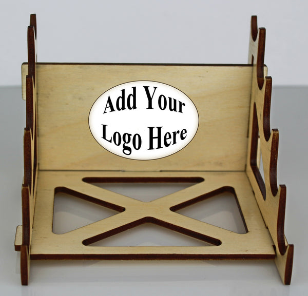 5 Pen Wooden Display Stand w/ Vector Image Ready Logo