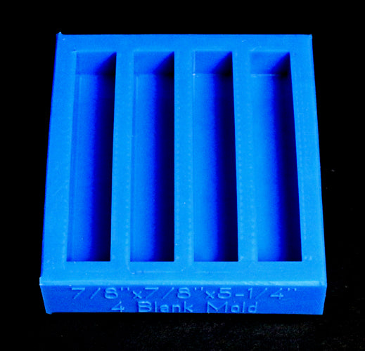 "4 Blank Horizontal Mold - 7/8"" square x 5-1/4"" - Blue"
