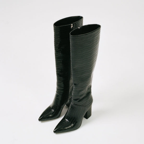 CARINA Boot, Black Croc