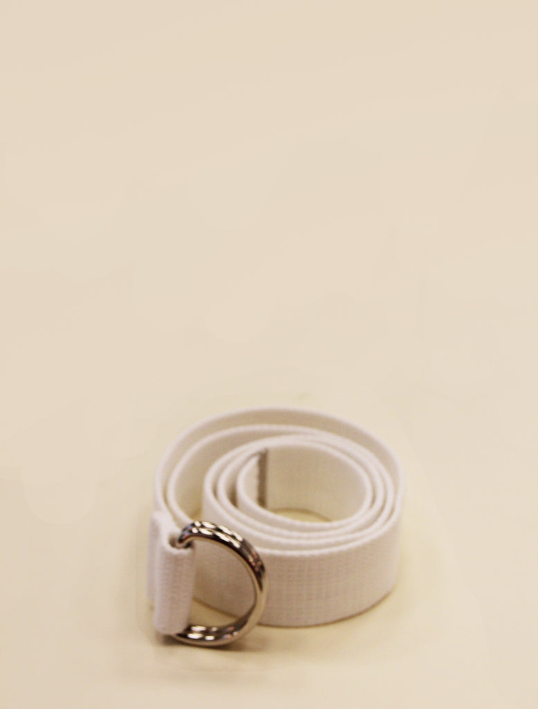 YLICO White Fabric D-Ring Belt