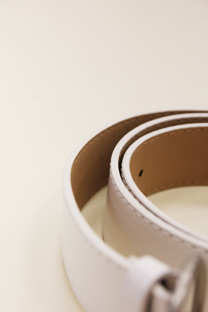 ZONI White Circle Ring Belt