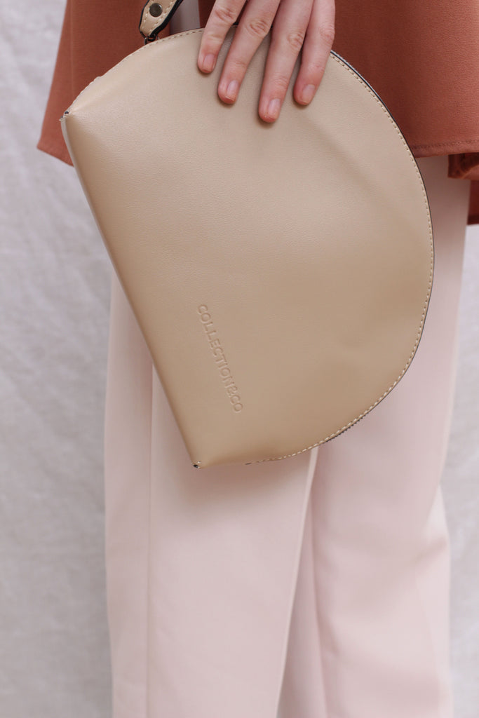 MIGRI Beige Faux Leather Dome Pouch