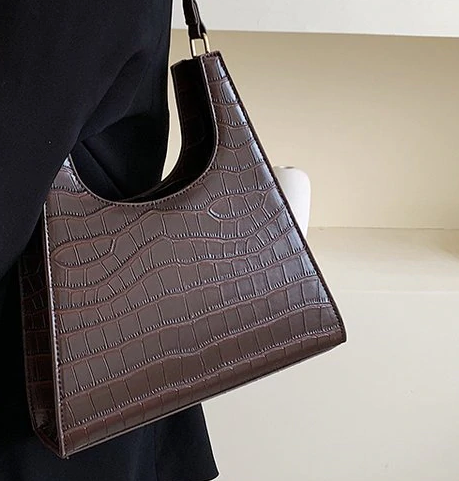 ARIES Dark Brown Faux Croc Bag