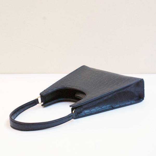 ARIES Black Faux Croc Bag