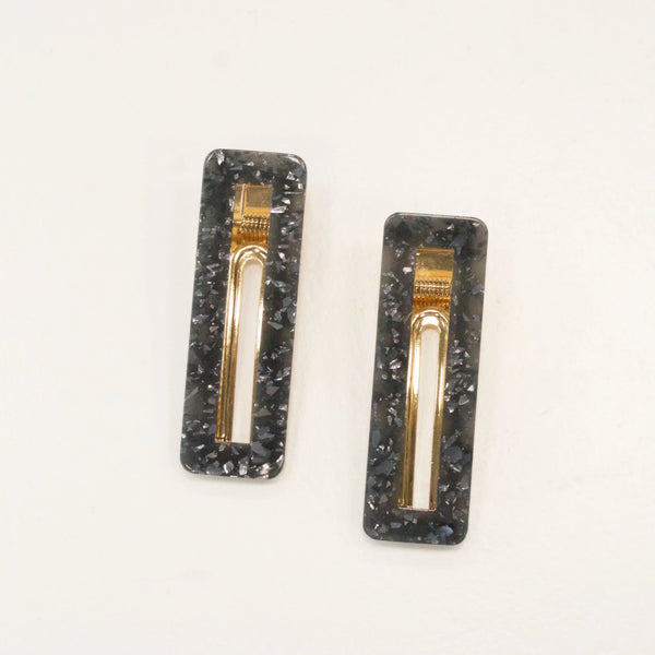 Set of Two Charcoal Hair Clips