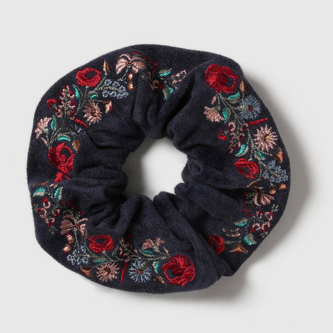 Embroidered Meadow Scrunchie