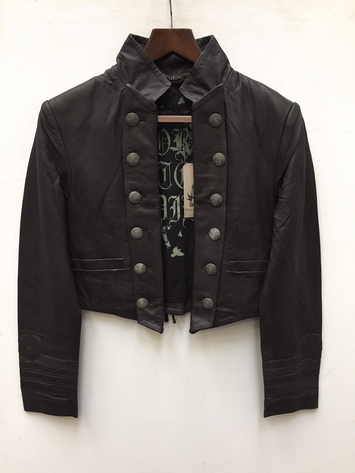 Military cropped leather jacket