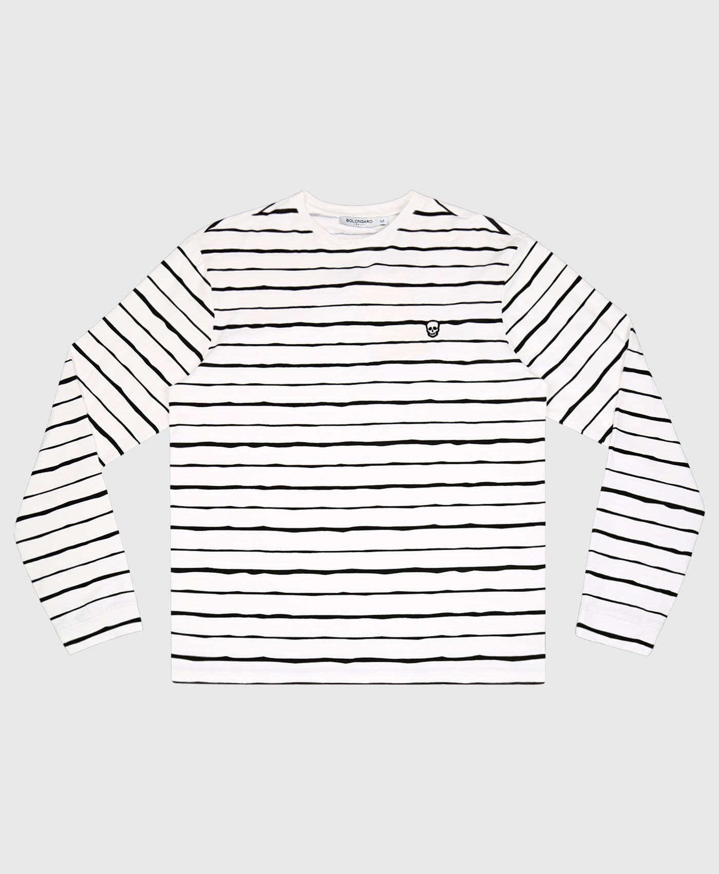 Skull Badge Stripe Long Sleeve Top