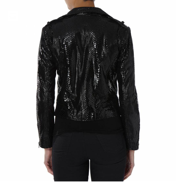 Black Snakeskin Leather Biker Jacket