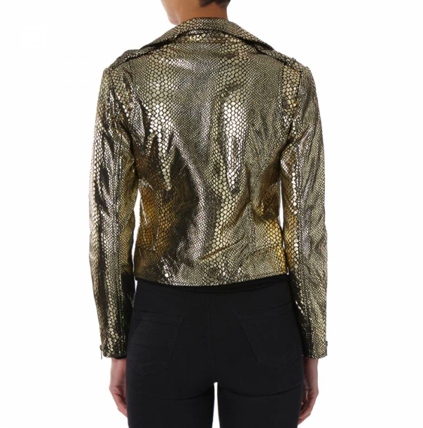 Gold Snakeskin Leather Biker Jacket