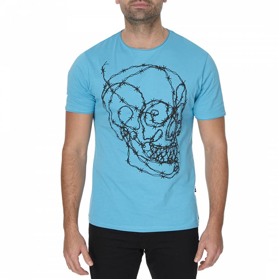 Barbed Skull Tee Blue