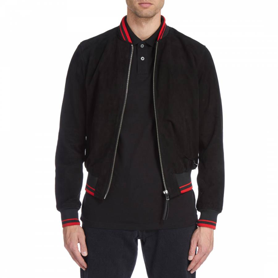 Black with red rib suede leather jacket