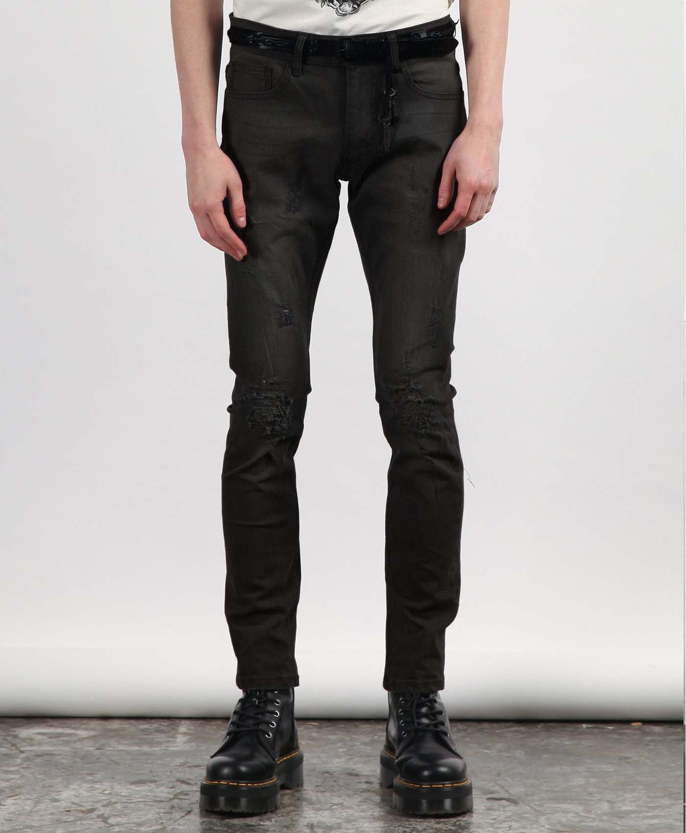 Black Damage Jeans