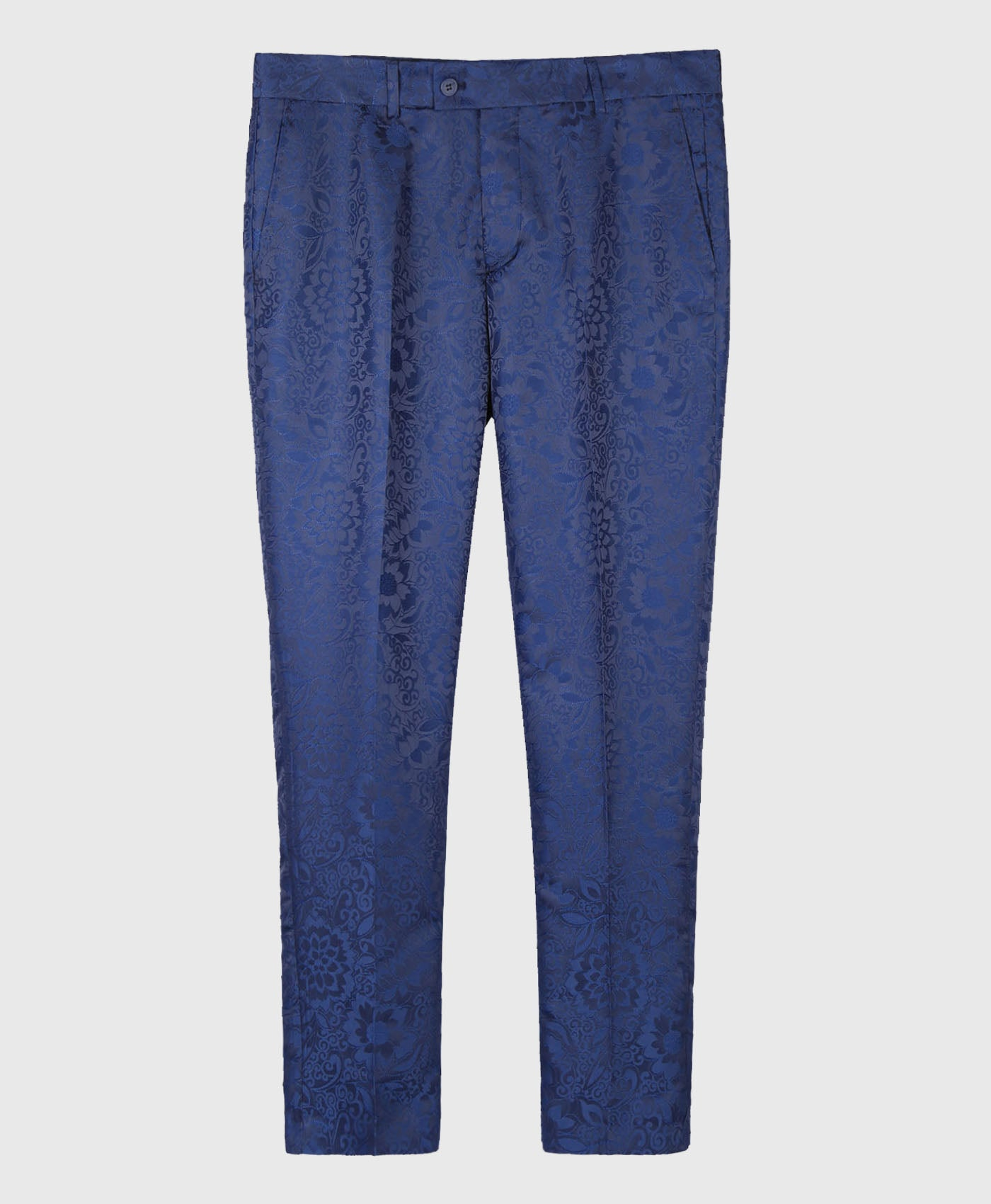 Floral Satin Navy Trousers