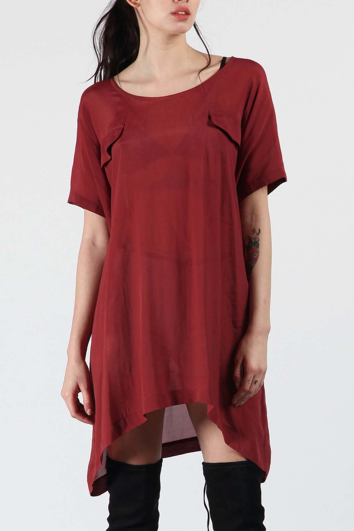 Red Long Tee with Pockets