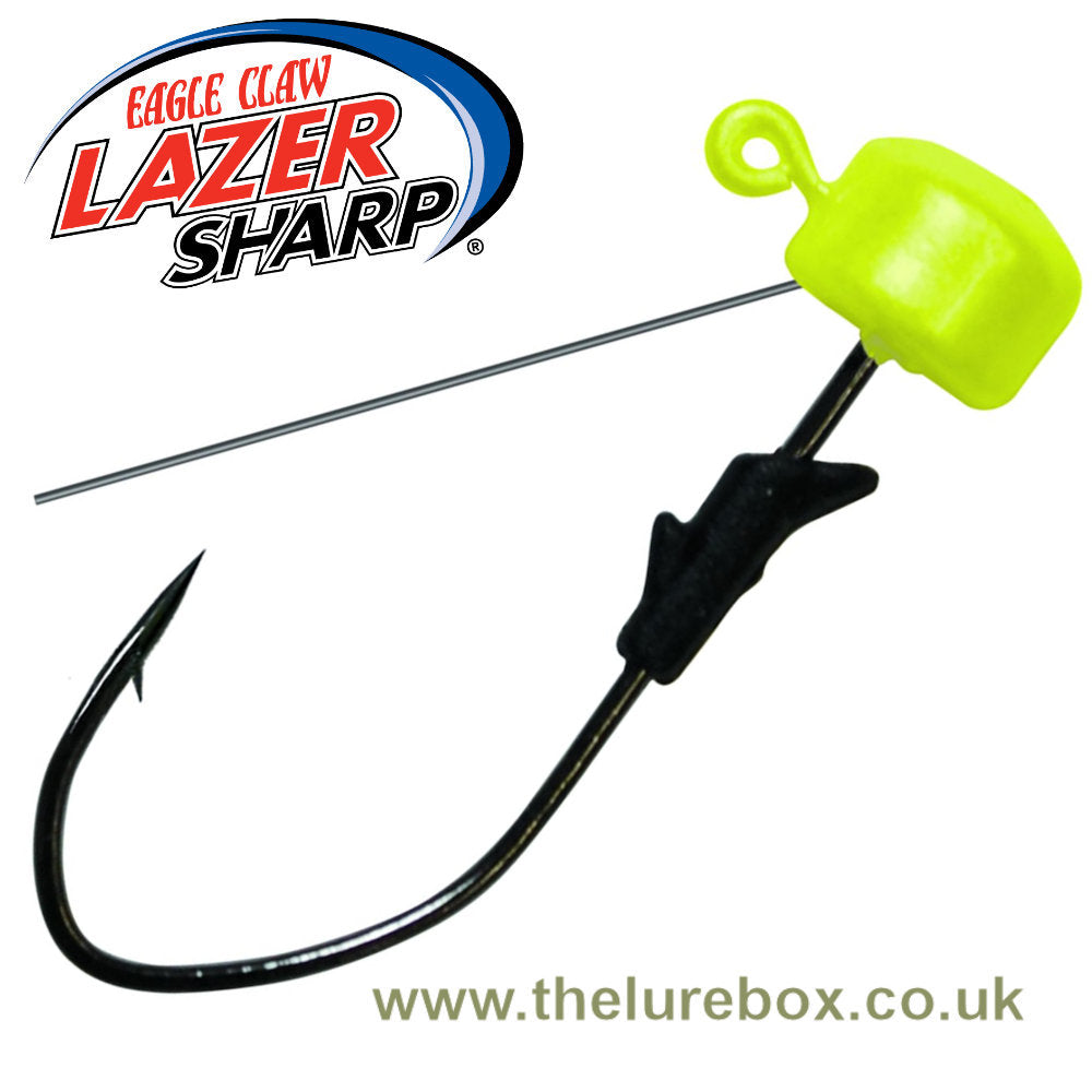 Eagle Claw Lazer Sharp Pro V Finesse Weedless Ned Jig Heads - Chartreuse - The Lure Box