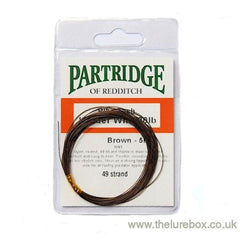 Partridge 49 strand knottable wire trace - Brown 5m