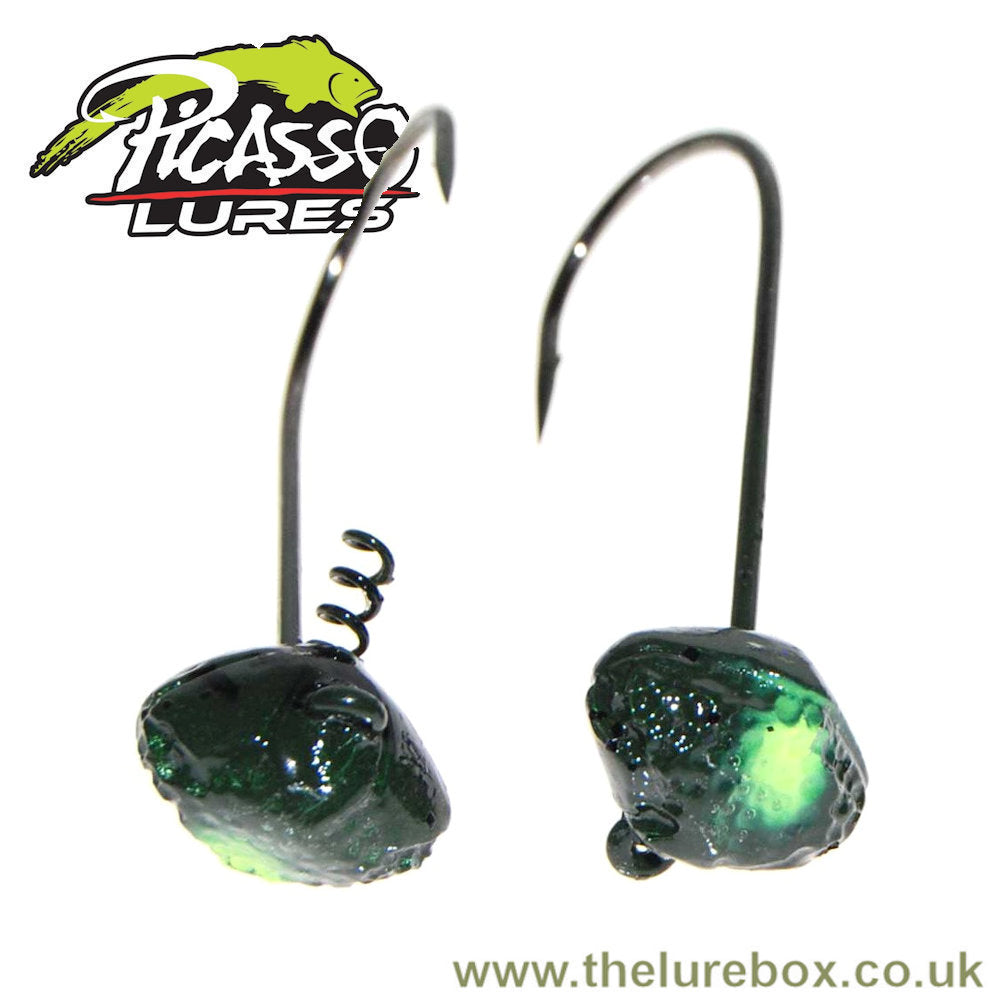 Picasso Lures Shake-E-Football Shakey Head Jig - Watermelon Chartreuse Tiger