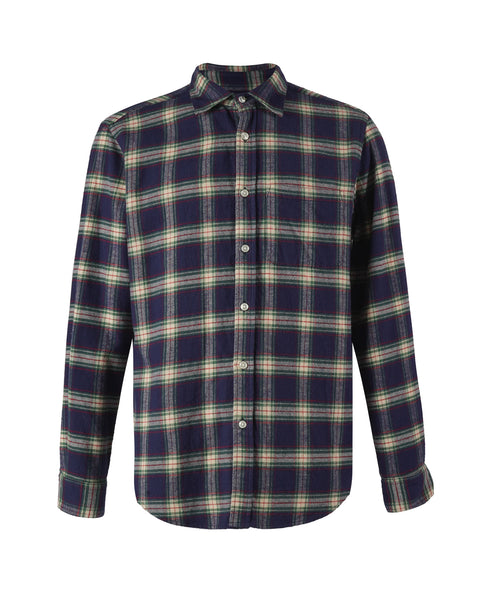 flannel shirt plaid blue and white bust front