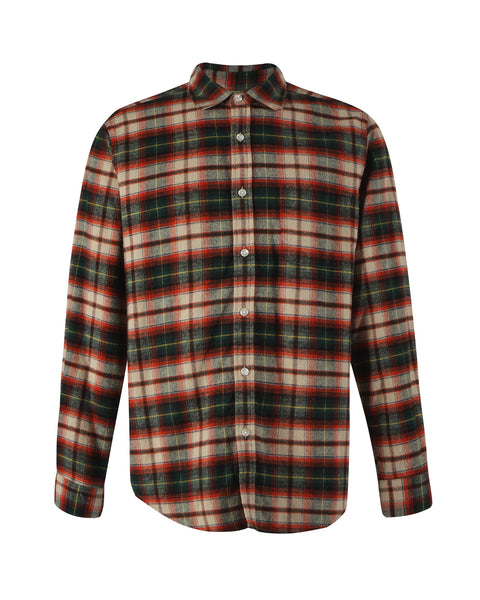 flannel shirt plaid green red bust front