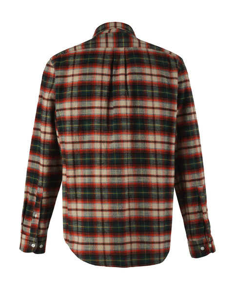 flannel shirt plaid green red bust back