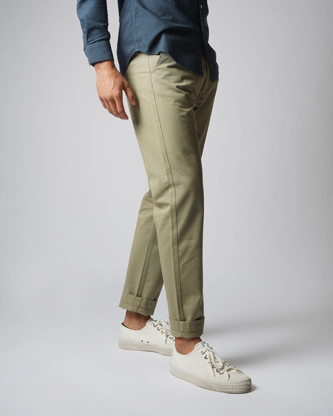 olive trousers model side