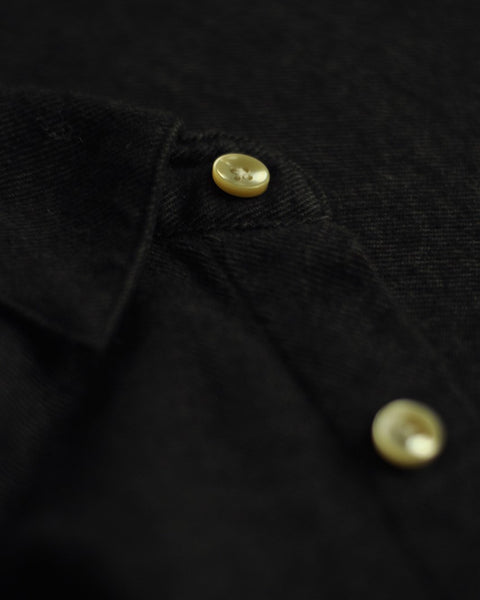 flannel shirt black detail button