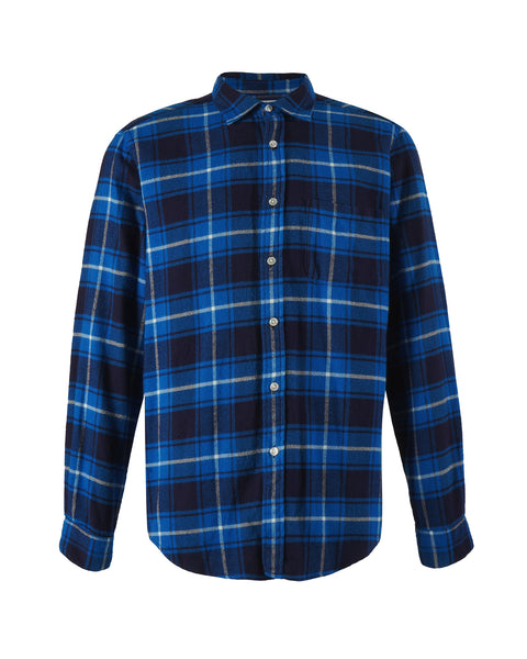 flannel shirt plaid blue white bust front