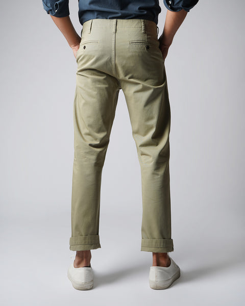 olive trousers model back