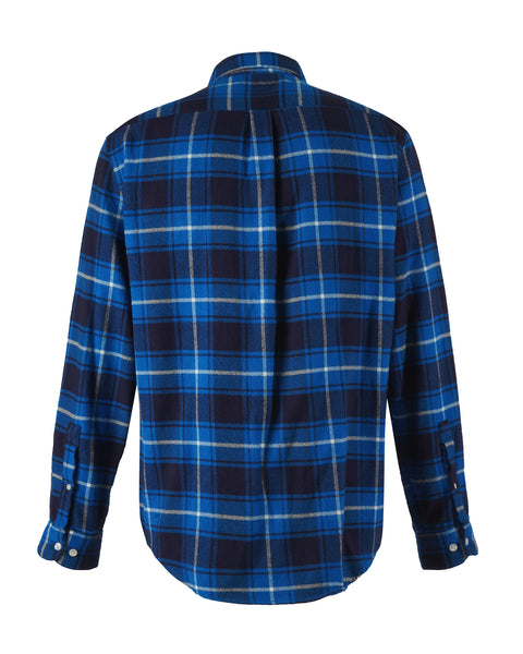 flannel shirt plaid blue white bust back