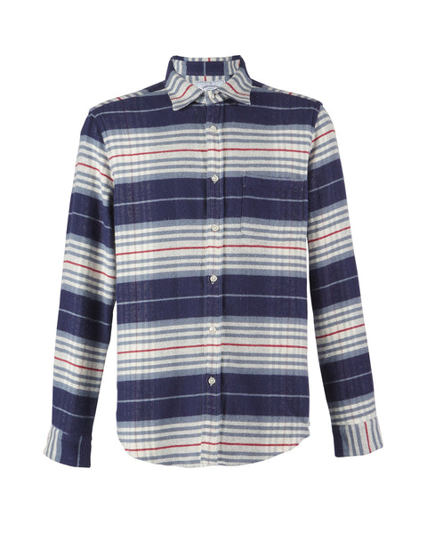 flannel shirt striped blue white bust front
