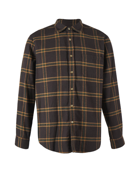 flannel shirt plaid brown yellow bust front