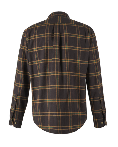 flannel shirt plaid brown yellow bust back