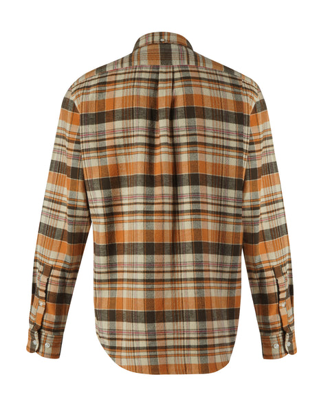 flannel shirt plaid orange brown bust back