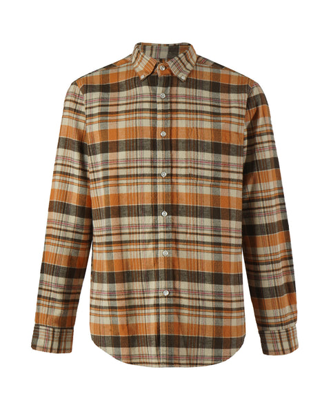 flannel shirt plaid orange brown bust front