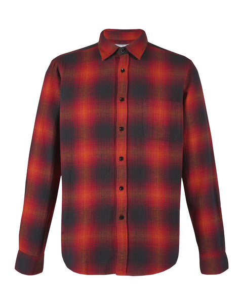flannel shirt plaid red black bust back