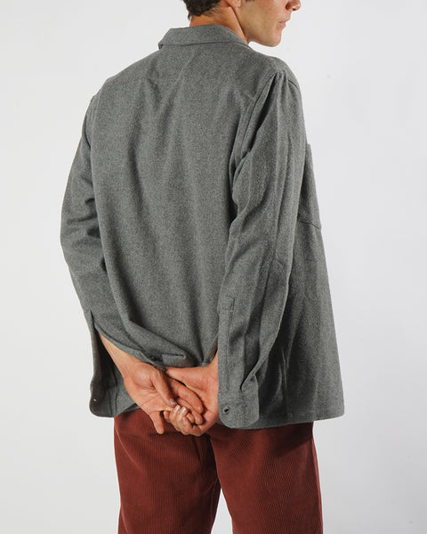 flannel jacket grey model side