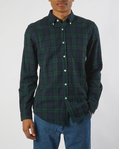 flannel shirt plaid green blue model front