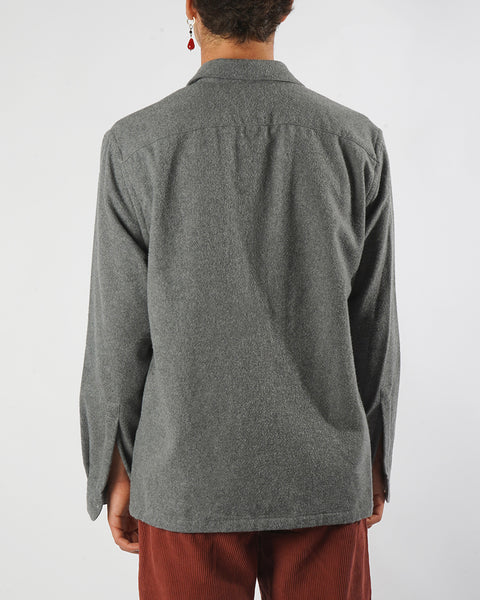 flannel jacket grey model back