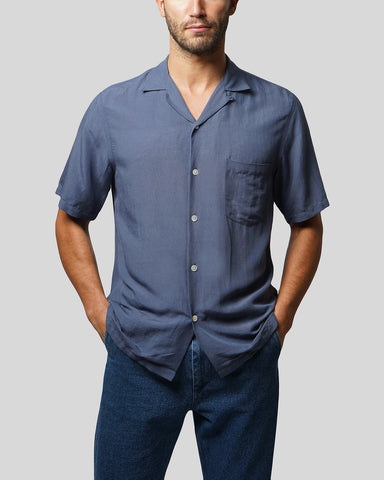 blue short sleeve shirt model front