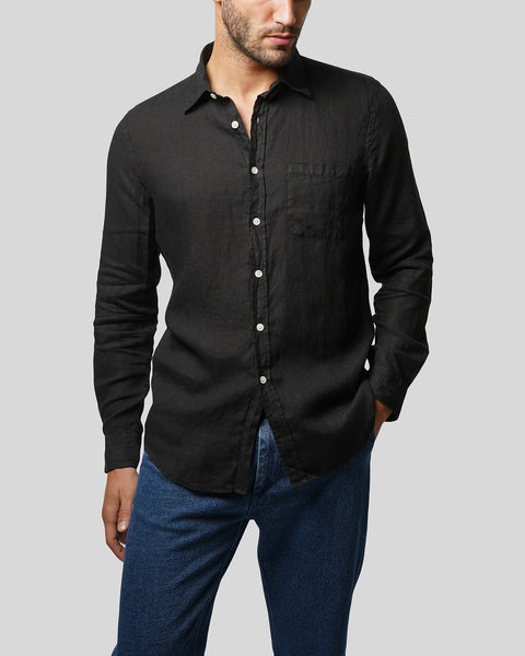 black linen long sleeve shirt model front