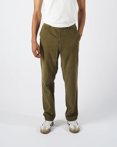 trousers corduroy olive green model front