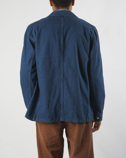 brushed denim jacket model back