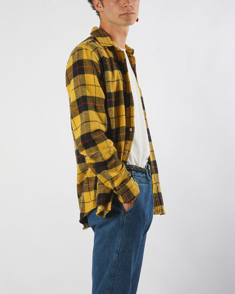 flannel shirt plaid yellow black model side