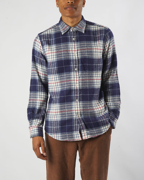 flannel shirt plaid blue and white model front